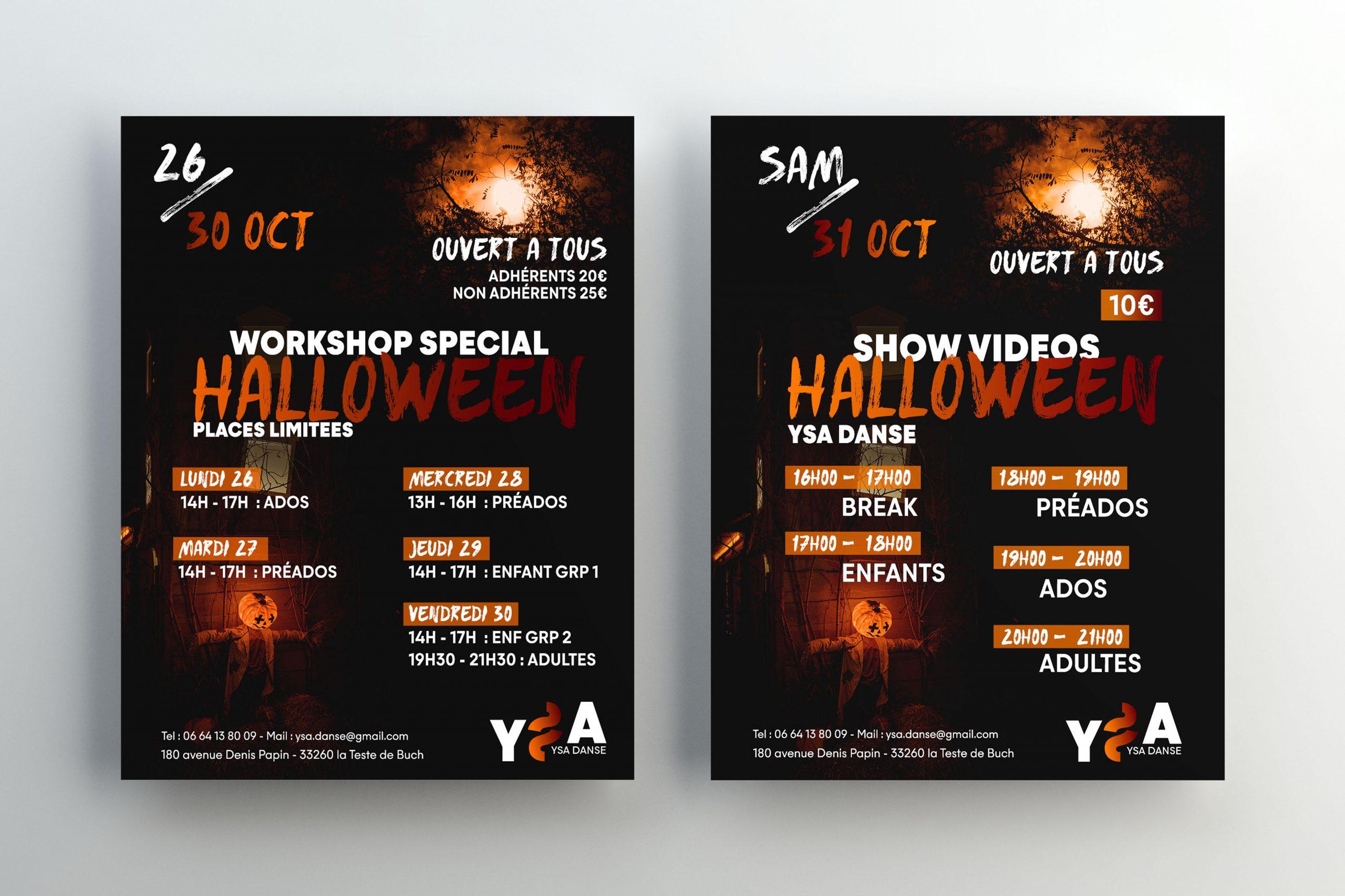 Mise en situation des affiches pour Halloween