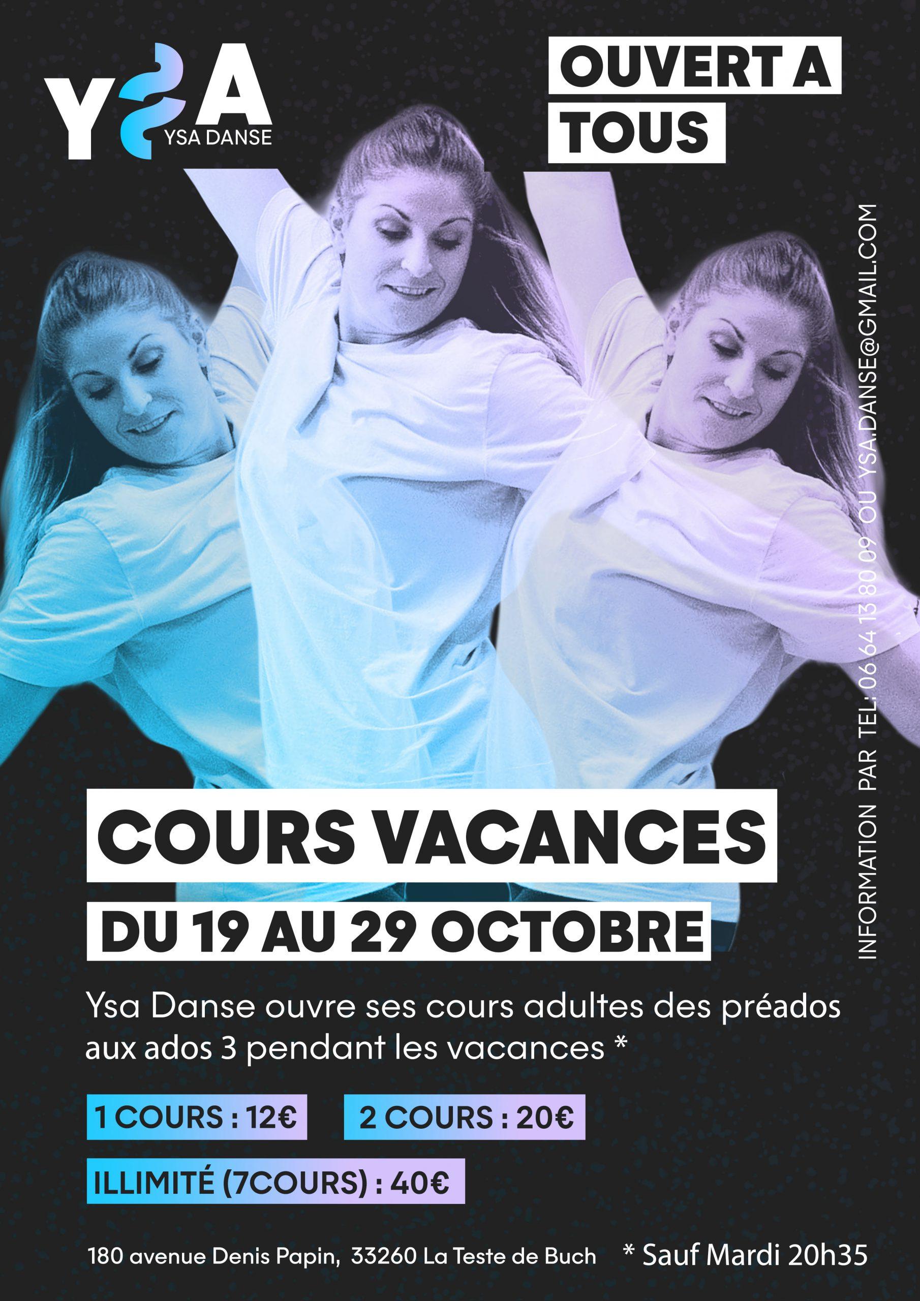 Affiche pour annoncer que les jeunes peuvent participer aux cours adultes pendant les vacances