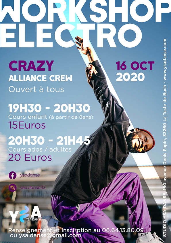 Affiche pour annoncer le stage electro chez ysa danse