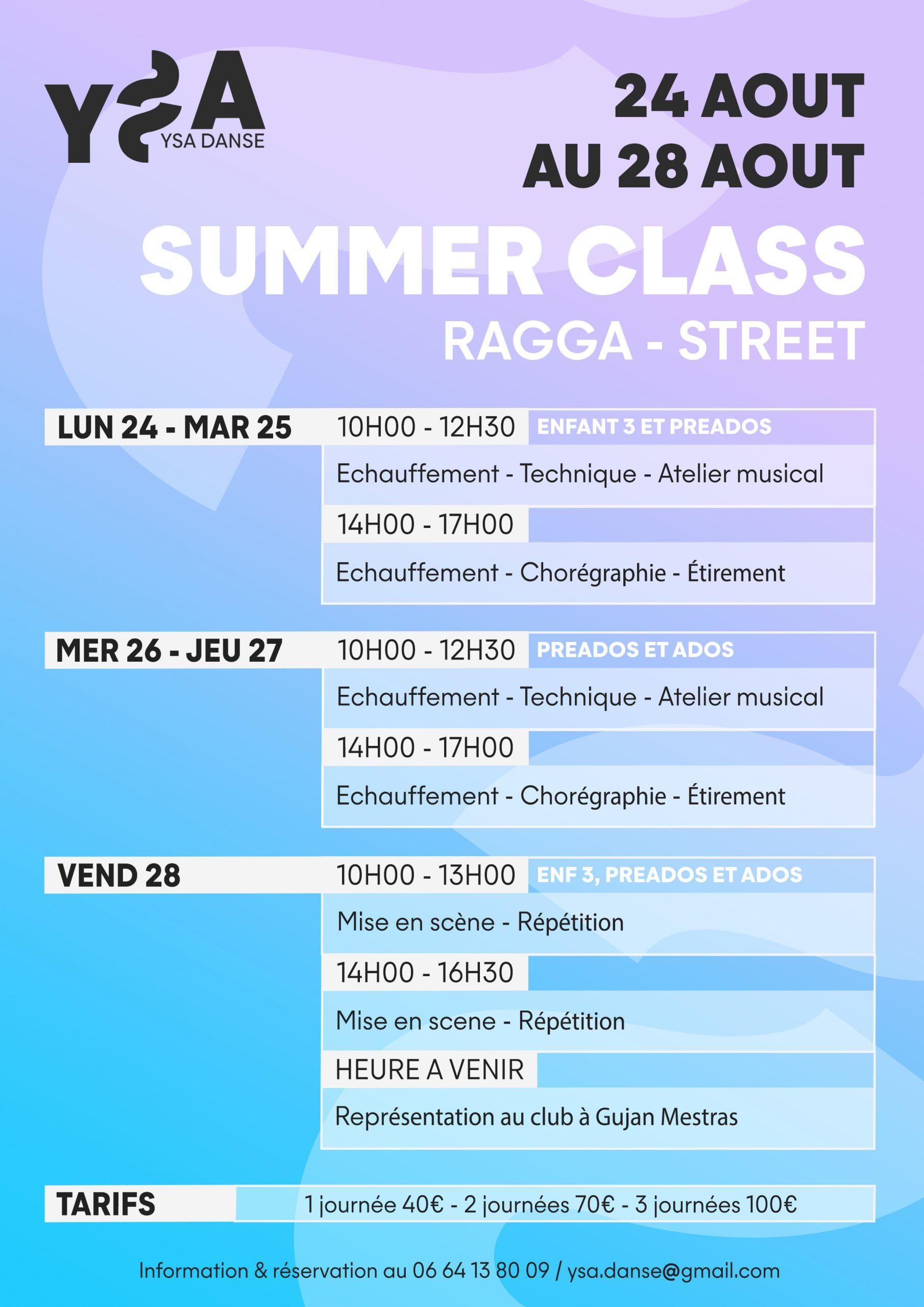 Affiche pour le stage de l'été